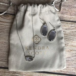 Elisa Silver Pendant Necklace with Earrings